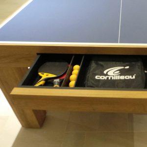 table de ping-pong rangement raquettes